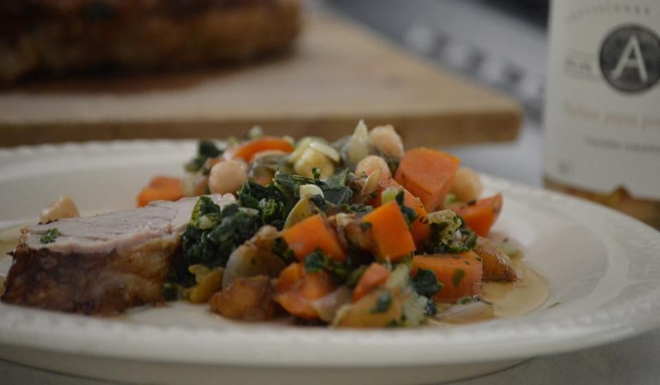 Verduras y garbanzos con solomillo