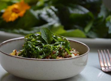 Ensalada de quinoa y hojas de mostaza